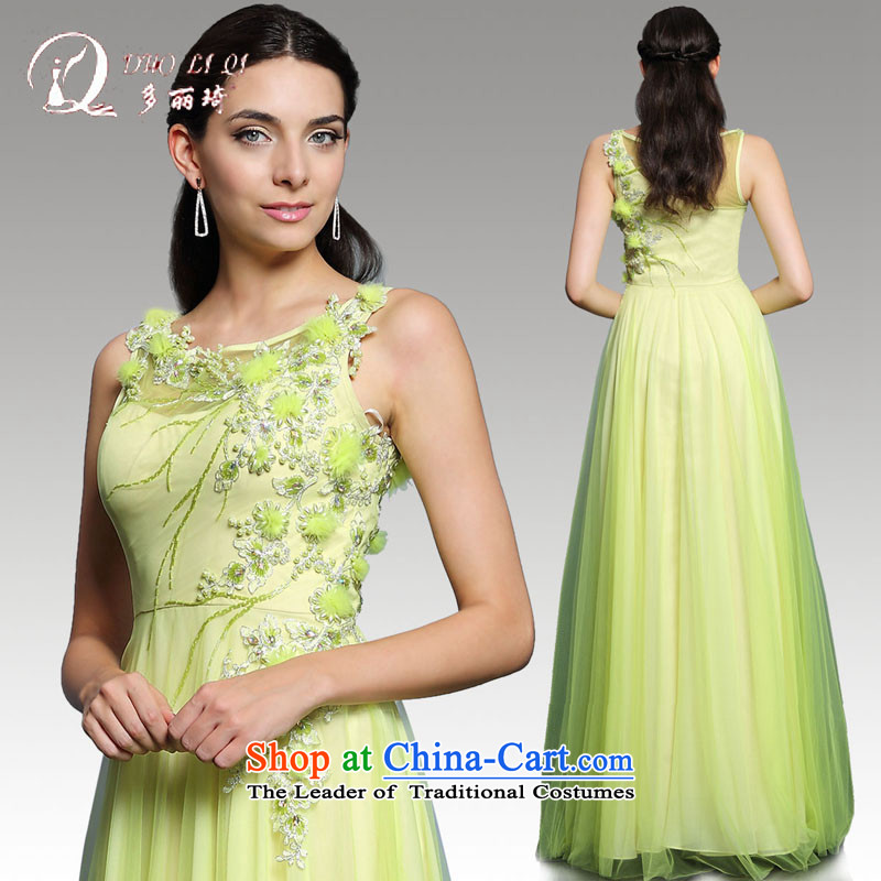 Doris Qi annual dinner dress 2015 Spring Green long bridesmaid service banquet hosted performances long skirt evening dress green�S