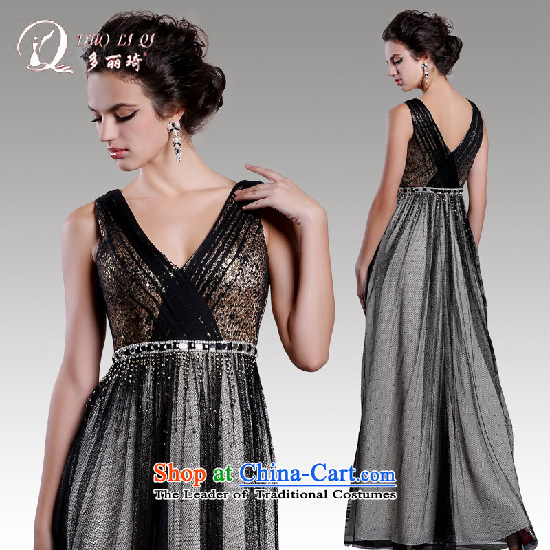 Doris Qi banquet evening dress long black shoulder under the auspices of the annual session of the small black girl�S dress
