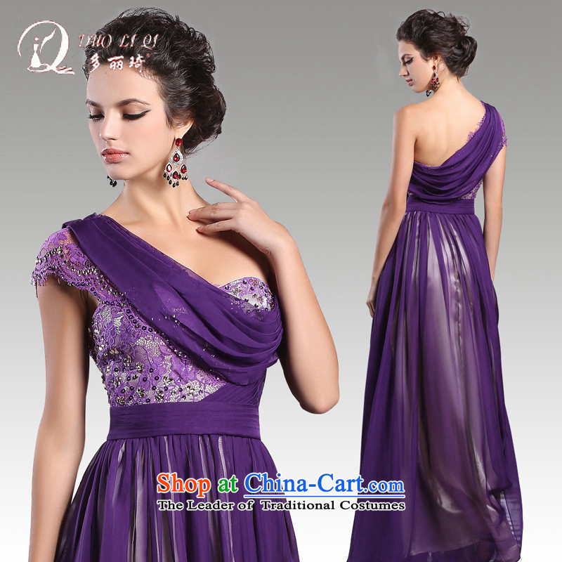 Doris Qi bride bows to winter purple shoulder bridesmaid sister annual meeting of persons chairing the banquet evening dresses Long Purple�S