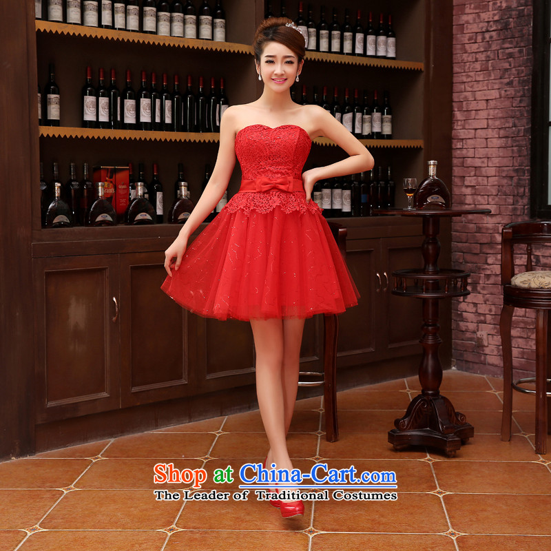 Bridesmaid dress 2015 autumn and winter new bride anointed chest lace dress red bow tie bows serving evening dresses red�L