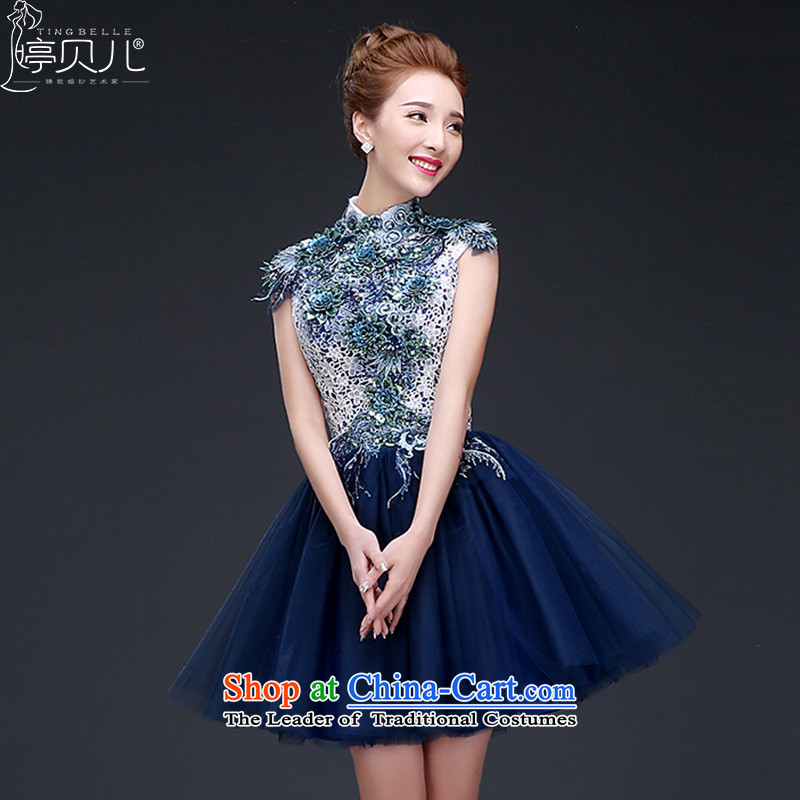 Beverly dress Ting 2015 new stylish short of the small dining evening dresses Sau San autumn and winter annual meeting of persons chairing dress female light blue�L