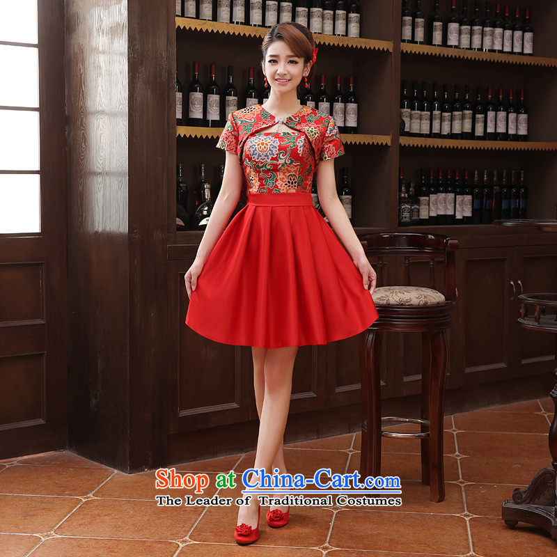 Toasting champagne marriage services bridesmaid dress short of modern small dress bride strap evening dress Yun Jin, a red�XL