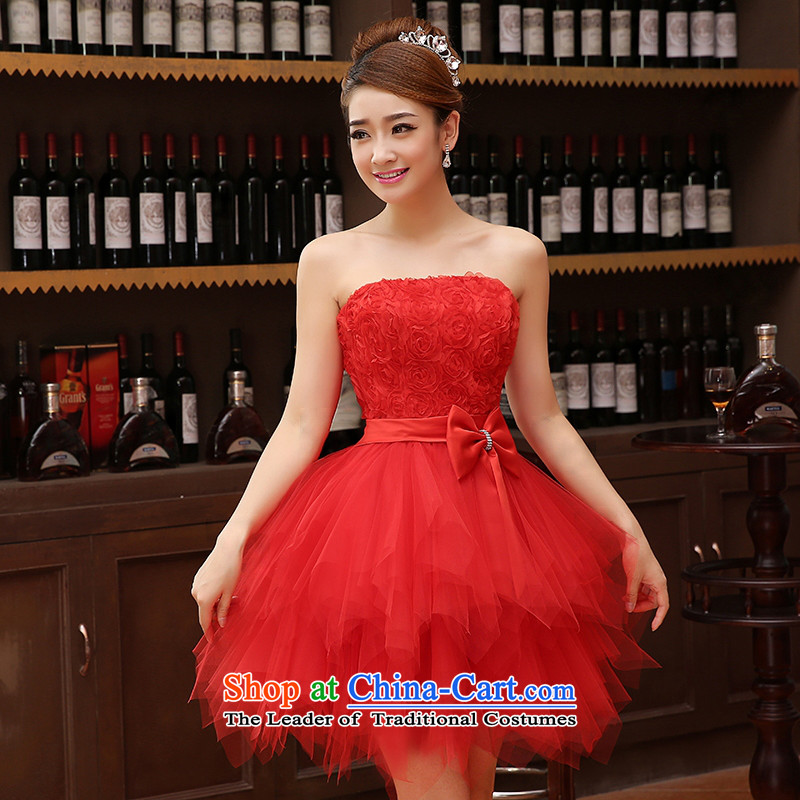 Charlene Choi Ling marriage wedding dresses short) equipped bridesmaid to bind with short of marriage evening dresses marriage small red dress M