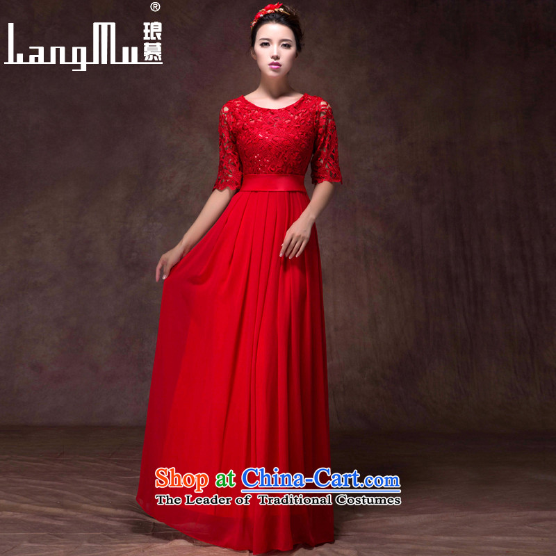 The?new 2015 Luang dress a field package version 7 to the Korea shoulder cuff lace Sau San video and slender, evening dresses bows services RED?M
