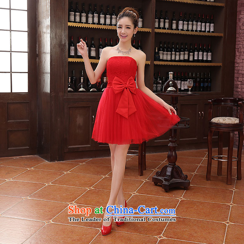 The new 2014 short of princess fall and winter bridesmaid evening dress winter banquet hosted the annual small red dress?XL