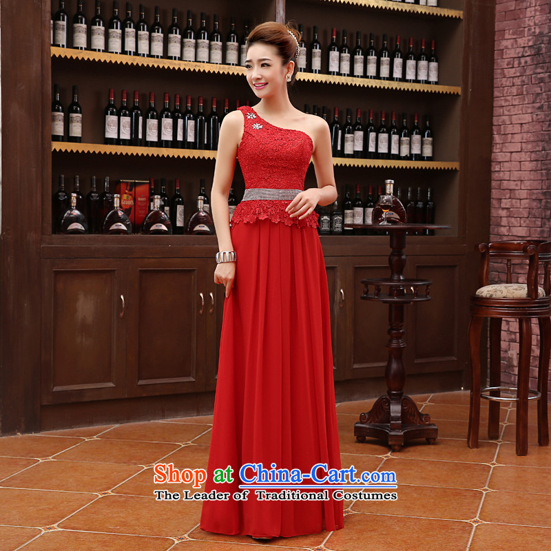 The new 2015 marriages wedding dress bows service long red bridesmaid stylish anointed chest of autumn and winter female red L