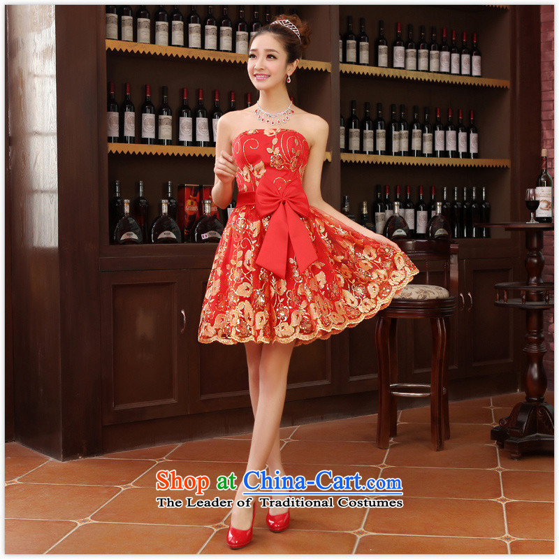 The new bride with small dress skirt bridesmaid service wedding dresses red bows services with marriage, Red?M short