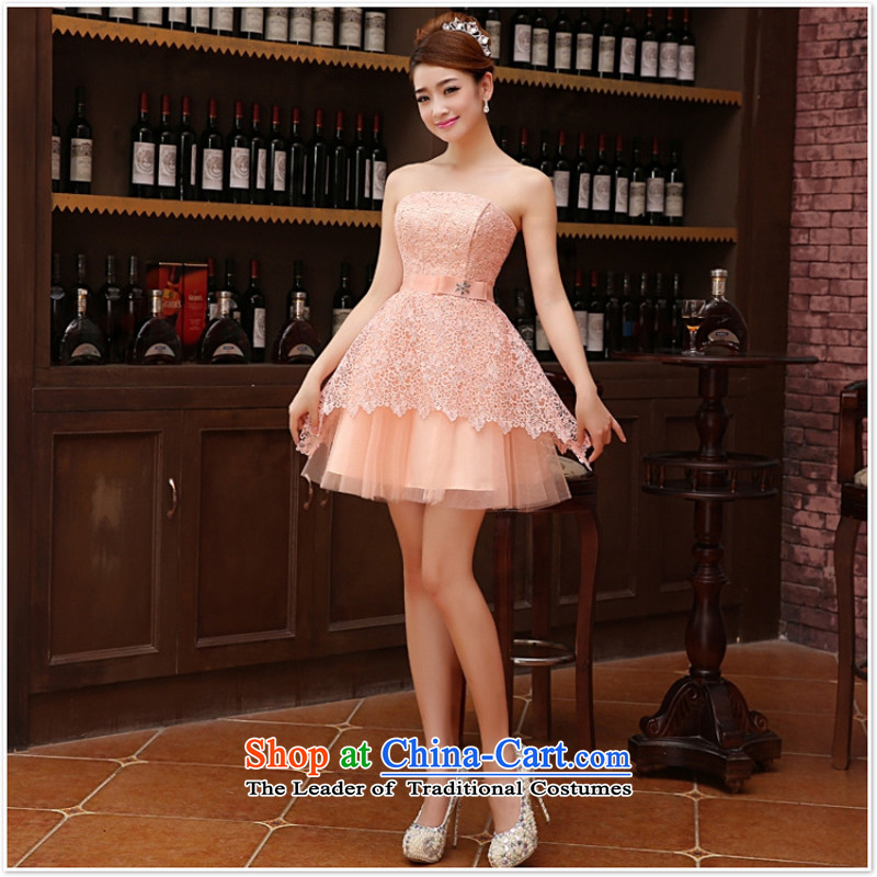 Charlene Choi Ling marriage wedding dresses short_ equipped bridesmaid to bind with short of marriage evening dresses marriage small dress champagne color?s