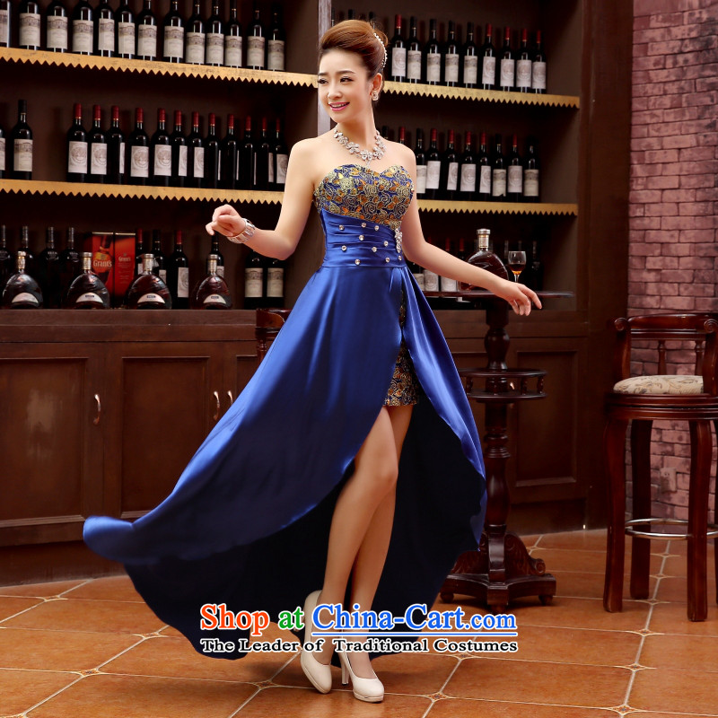 Charlene Choi Ling marriage wedding dresses short_ equipped bridesmaid to bind with short of marriage evening dresses marriage small blue dress?s