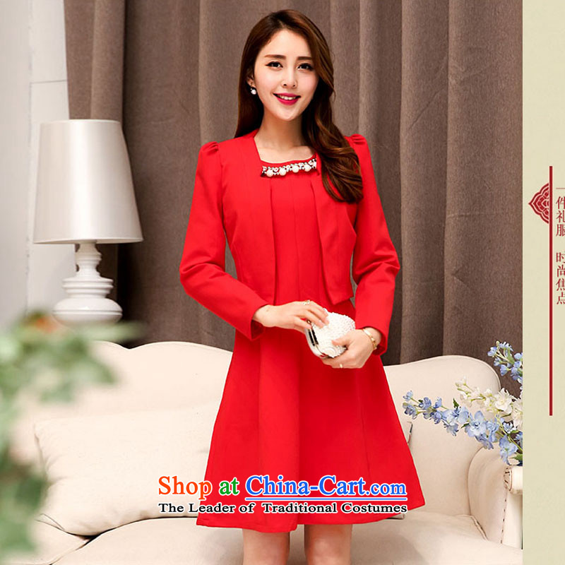 2015 autumn season arrogance new bride with large red dress marriage the lift mast bows dress Red Dress Sau San two kits red 528 XL