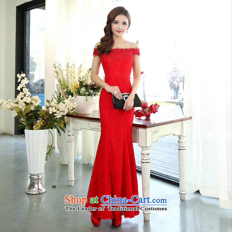 ? 2015 autumn season arrogance new word shoulder length, stylish and irrepressible marriage evening dresses banquet evening dresses red?S