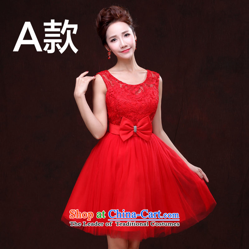 Love of the overcharged?by 2015 New Service Bridal wedding dresses drink red straps for larger high waist lace pregnant women shoulder a short video thin, bon bon skirt?A,?L