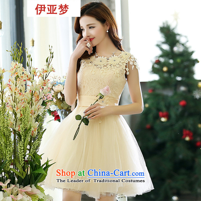 2015 new bride wedding dress stage performance services bridesmaid bows short of mission and his chest evening dresses female m White?M
