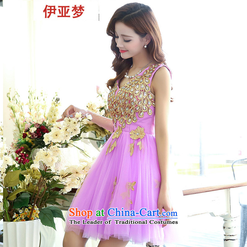 The dream evening dress short) bridesmaid wedding dress female new bride toasting champagne 2015 serving dinner gatherings annual small dress skirt the girl with a light purple?M