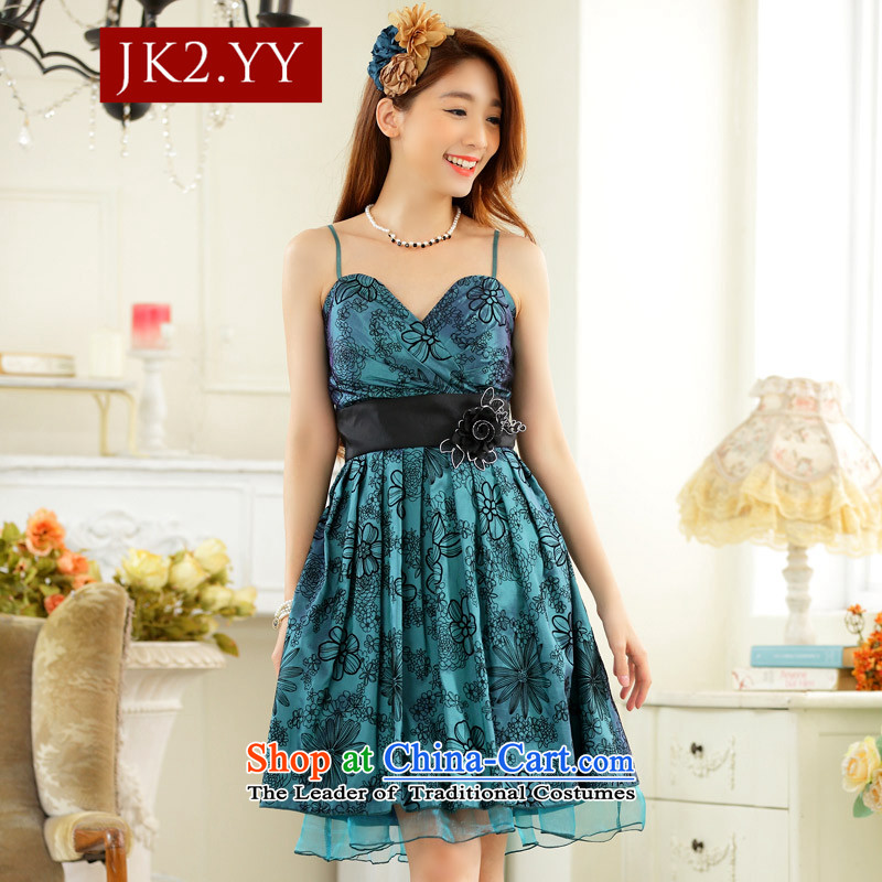 ?The annual sweet dress JK2 elegant value lint-free V-Neck Strap Foutune of small countries in the dress skirt _flower can be split_ Green?XXL