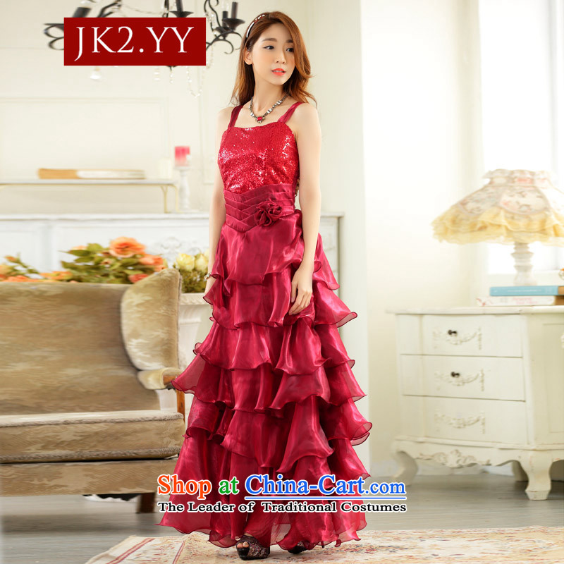 ?The finishing touch to the evening performances JK2 drug store front auspices which skirts large princess skirt straps long evening dresses dresses golden?XL