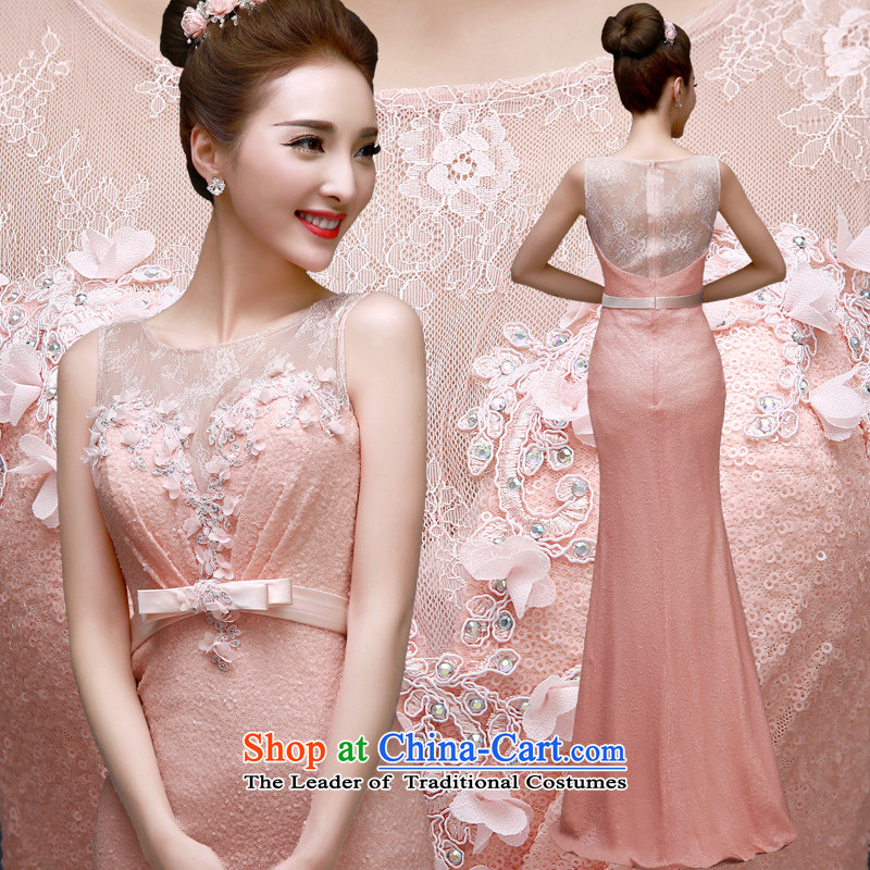 The privilege of serving-leung 2015 new bride wedding dress evening banquet moderator long crowsfoot evening dress skirt pink�L