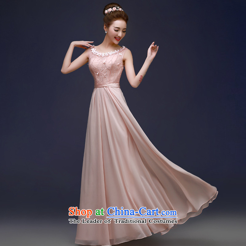 The privilege of serving-leung 2015 annual meeting of the new banquet moderator evening dresses bride marriage ceremony of Sau San toasting champagne stylish service pink?S