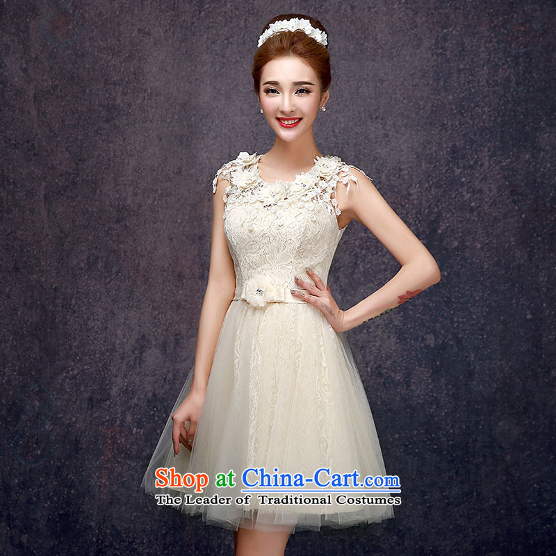 The privilege of serving-leung 2015 new summer gown sister in small bridesmaid dress short skirt_ bridesmaids champagne color?E -605 L