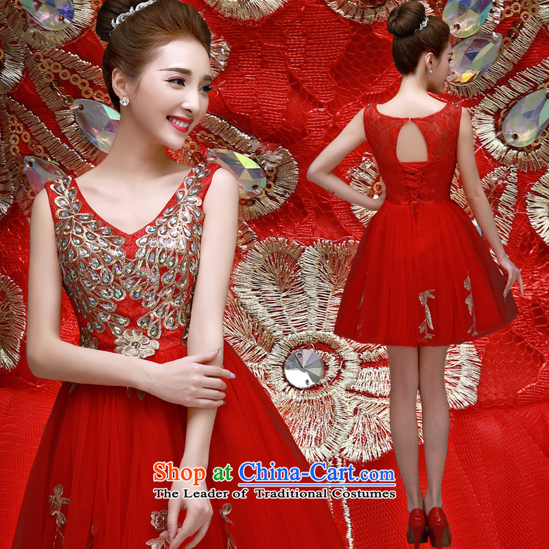 The privilege of serving-leung 2015 new bride banquet Annual Small Red Dress Short, bows to dress marriage Red?2XL