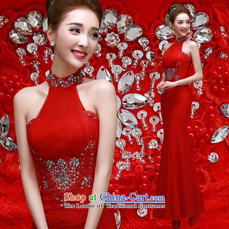 The privilege of serving-leung spring and autumn 2015 new red bride wedding dress annual meeting of persons chairing the banquet evening dresses crowsfoot red?S