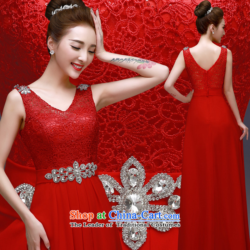 The privilege of serving-leung 2015 New Red Dress bride Sau San engraving lace wedding dress long bows Services Red?2XL