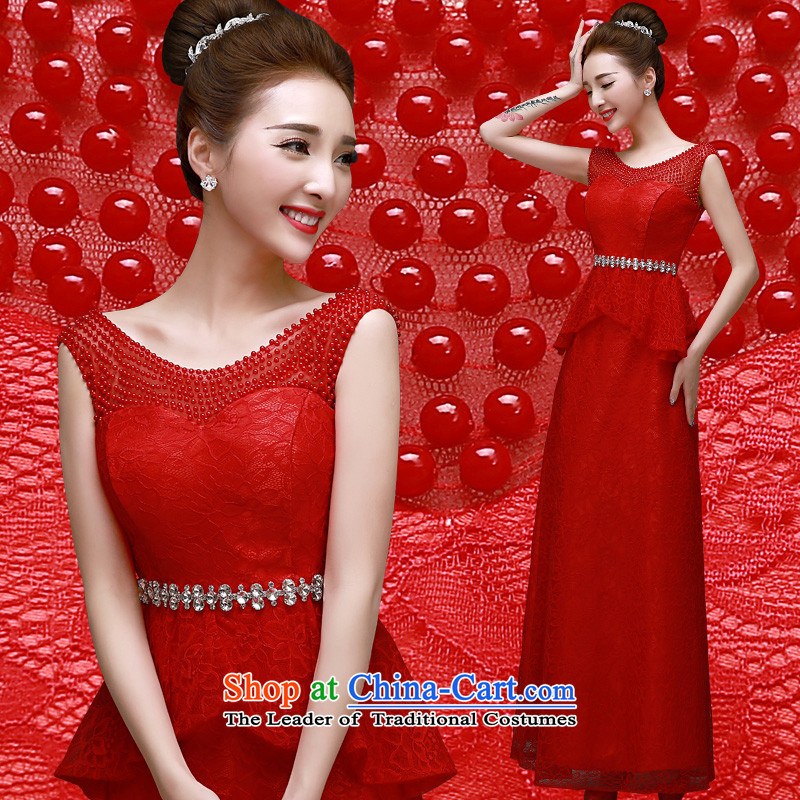 The privilege of serving-leung spring and autumn 2015 new marriages banquet annual meeting of persons chairing the dress red long evening dresses red?XL