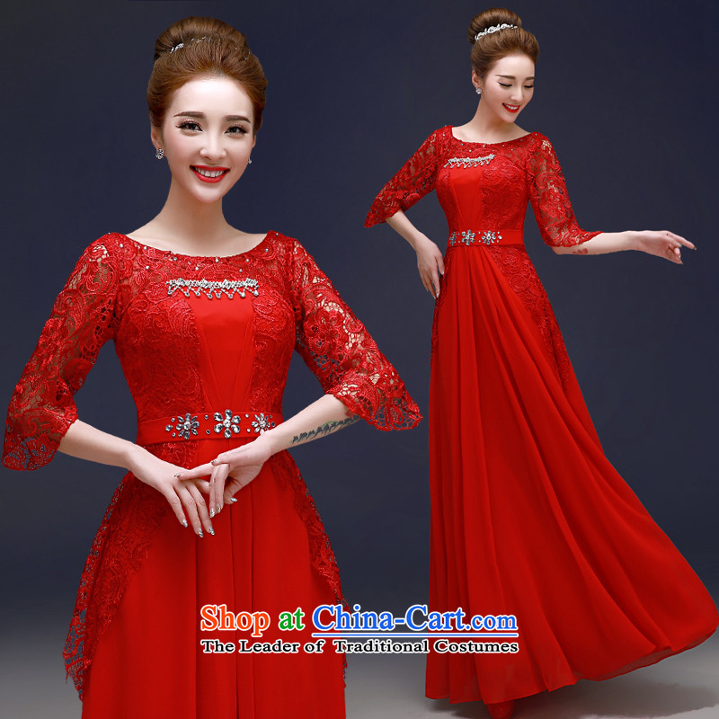 The privilege of serving-leung 2015 new bride red dress stylish Sau San wedding dress engraving lace bows services red?S