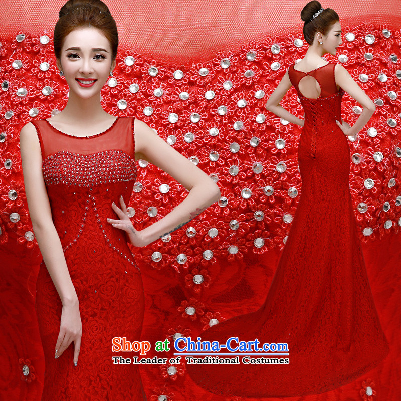 The privilege of serving-leung 2015 spring and fall new bride's annual meeting of persons chairing the marriage banquet long tail evening dress skirt red?S