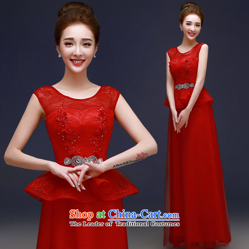 The privilege of serving-leung 2015 new red bride stylish wedding dress of Sau San banquet evening dresses bows services red?S
