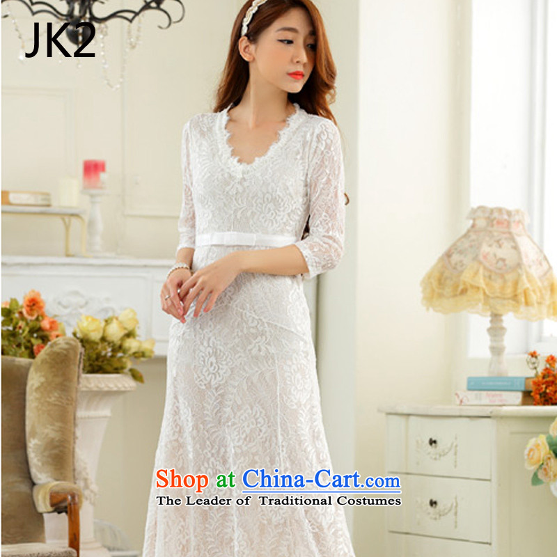 Lace sexy V-neck in long-sleeved larger dress dresses JK2�XXXL 9,731 White