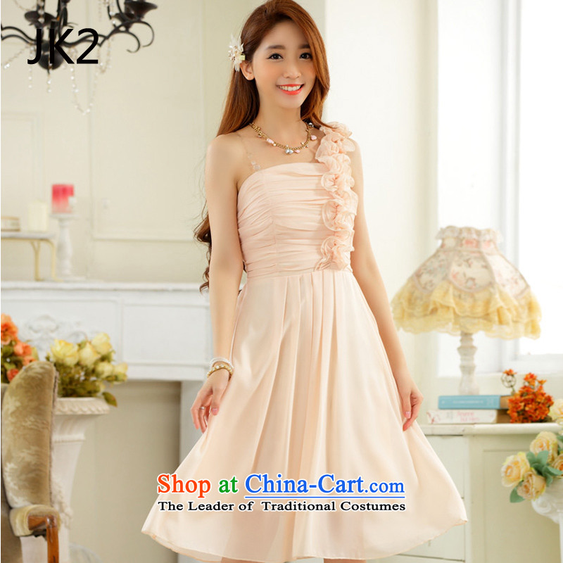 Stylish wedding dress fungus edge sister quarter shoulder foutune chiffon large number, skirts dress dresses JK2 9831 champagne color?XL