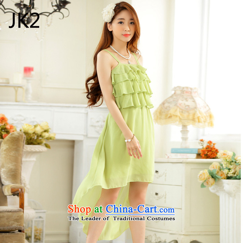 Pretty and stylish dovetail skirt chiffon niba straps sister skirt dress dresses JK2 9922 fruit green?XL