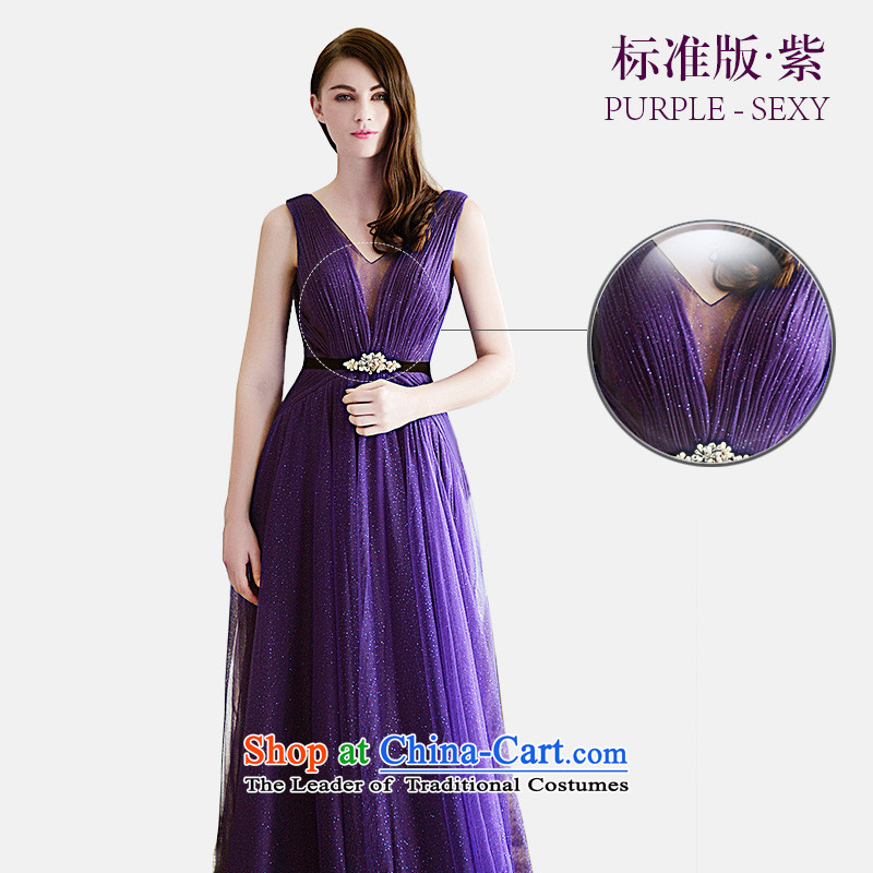 Full Chamber Fong wedding dresses 2015 Summer new marriages evening dresses V-Neck long sexy wedding banquet?L369 bows services?purple Standard tail tailored 30