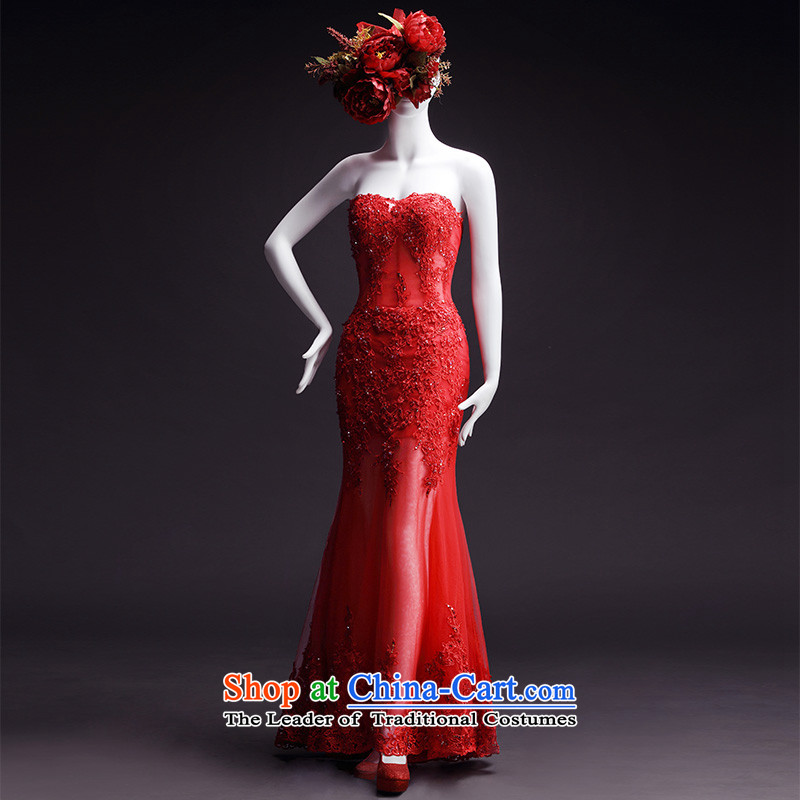 Full Chamber Fong new products wedding dresses new 2015 spring wiping the chest straps trailing red bride crowsfoot wedding bow tie shawl?173-XL_