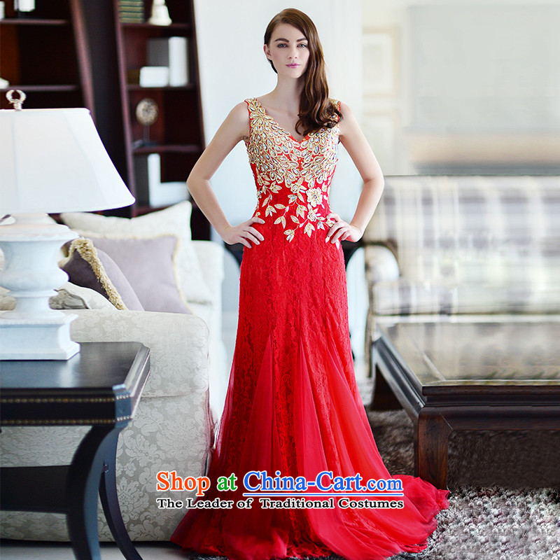 Full Chamber Fong, 2015 Red long V-Neck embroidery bride bows wedding set winter clothing crowsfoot red tail 173-XL 15cm