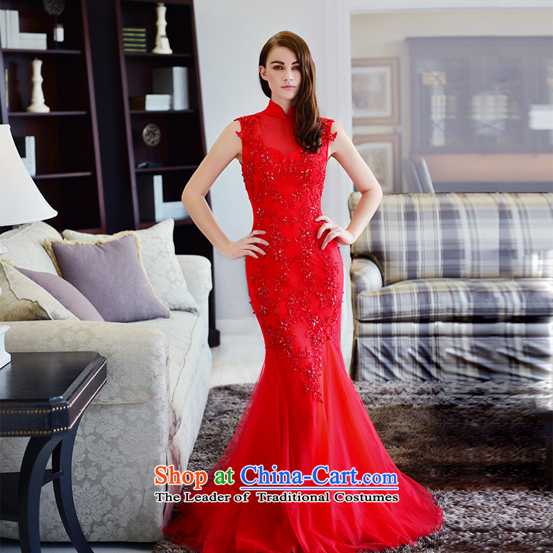 2015 Autumn and winter new wedding dresses marriage temperament cheongsam dress red collar bows services crowsfoot red tail tailored 15cm