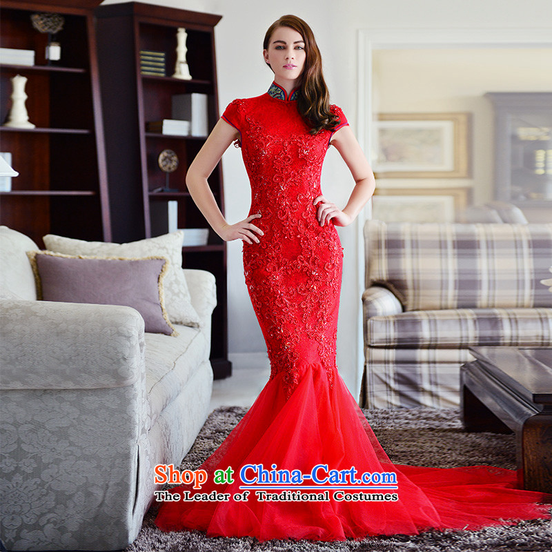 Full Chamber Fong bride cheongsam dress 2015 new winter_ red collar package and lace tail crowsfoot long red tail serving drink 173-M 30cm