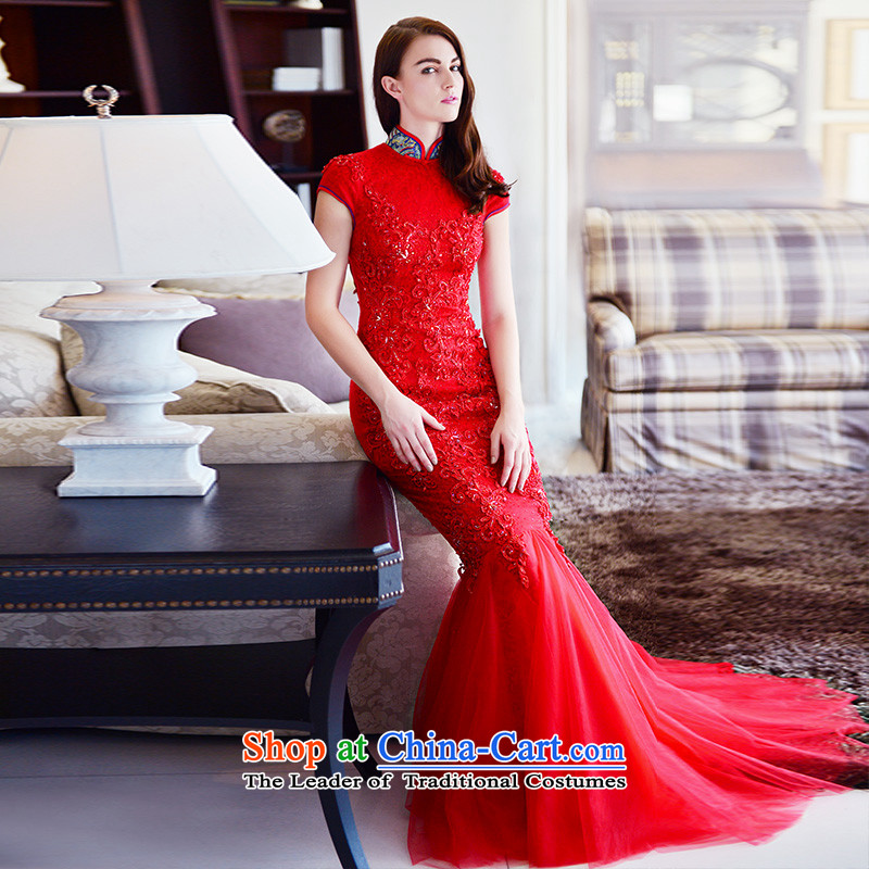 Full Chamber Fong bride cheongsam dress 2015 new winter) red collar package and lace tail crowsfoot long red tail serving drink 173-M, 30cm full Chamber Fong shopping on the Internet has been pressed.