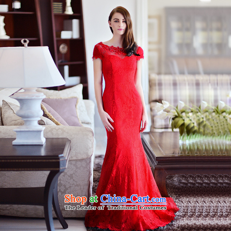 2015 new full Chamber fang of autumn and winter bride red crowsfoot package shoulder tail bows wedding dresses serving long red tail 173-L 15cm