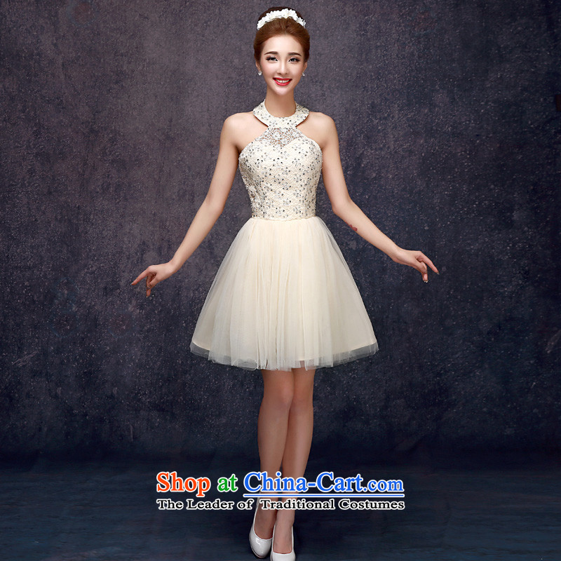 The privilege of serving-leung 2015 summer short of the new SISTER bridesmaid dress skirts mission bridesmaids small dress champagne color champagne color?XL