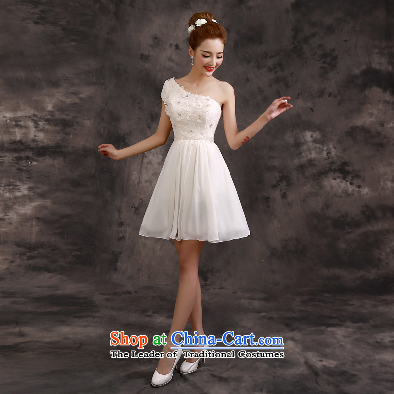 The privilege of serving-leung 2015 Summer new bridesmaid mission dress skirt champagne color short of small dress sister bridesmaids�B02) - Beveled Shoulder�S