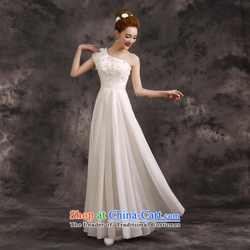 The privilege of serving the summer and fall of 2015-leung bridal dresses bridesmaid mission sister skirt long evening dresses champagne color bridesmaids�B02) - Beveled Shoulder�M