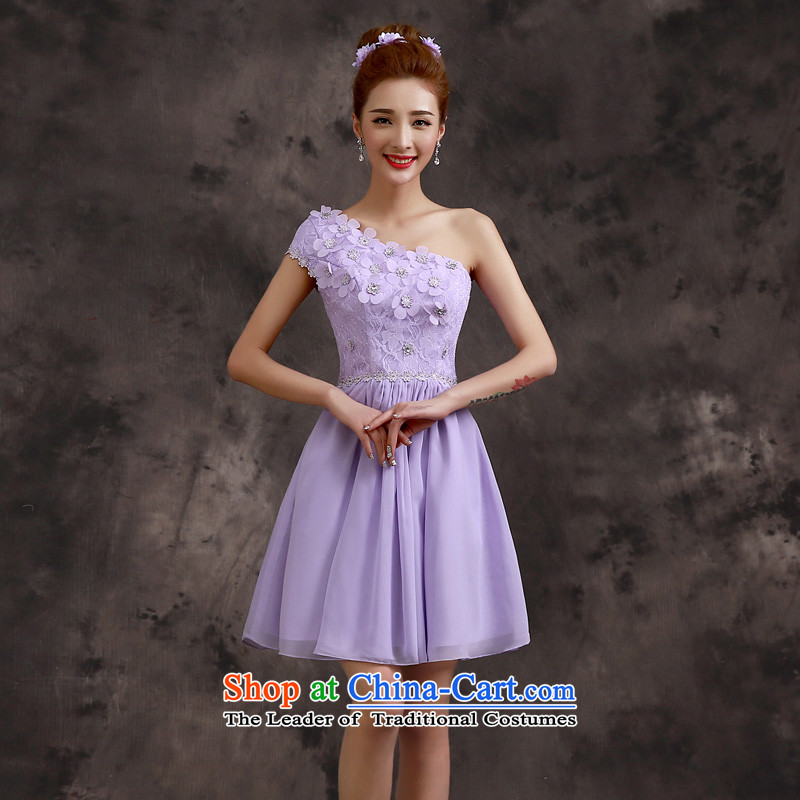 The privilege of serving-leung 2015 new spring and summer bridesmaid sister mission of serving short skirt purple small dresses dress bridesmaids?B - Beveled Shoulder?L