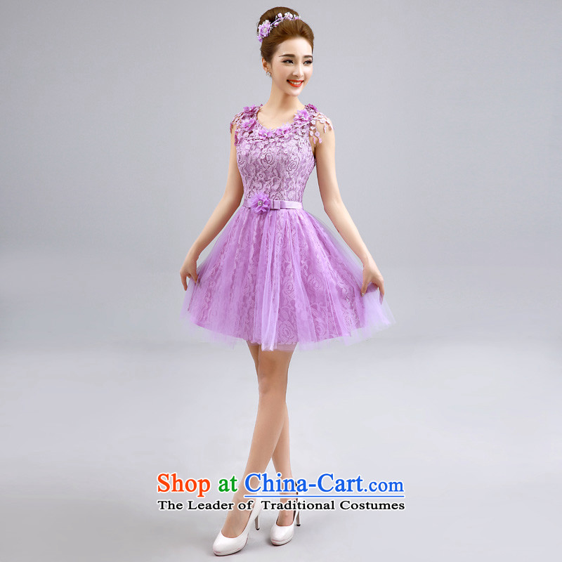The privilege of serving-leung 2015 summer short of the new mission and sisters bridesmaid skirt small dress bridesmaids evening dresses purple?E07) -605 lace shoulders?S