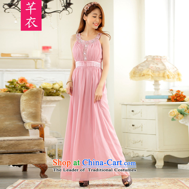 The 2015 new hand nailed on the Pearl River delta drilling-long evening dresses thick mm xl western banquet chiffon dresses sleeveless long skirt pink are code