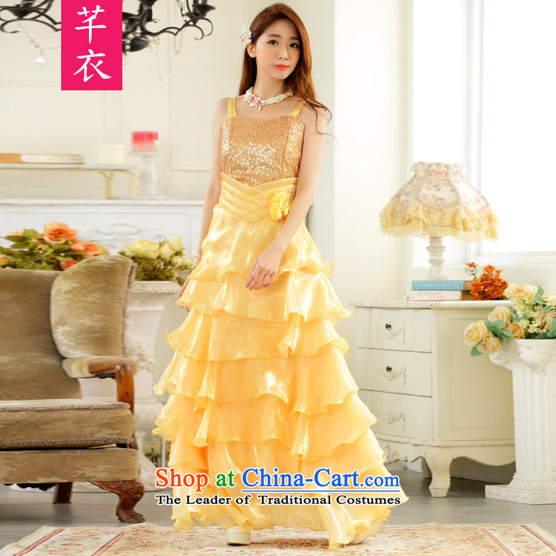 2015 evening performances which looked drug store front auspices skirt large lifting strap long skirt annual dinner dress xl female thick mm dresses yellow to large 2XL 140-160 characters catty