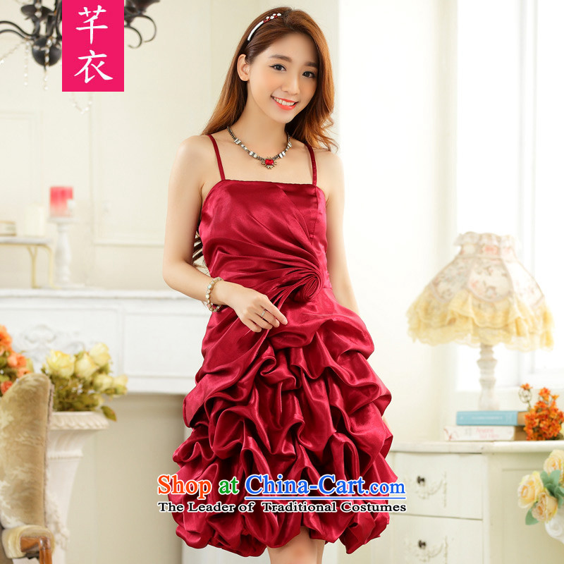 The new 2015 XL Women's annual dinner dress bare shoulders and sexy slips of paper lanterns skirt chaired the wrinkle show small dress thick mm dresses wine red to large 3XL 160-180 catty