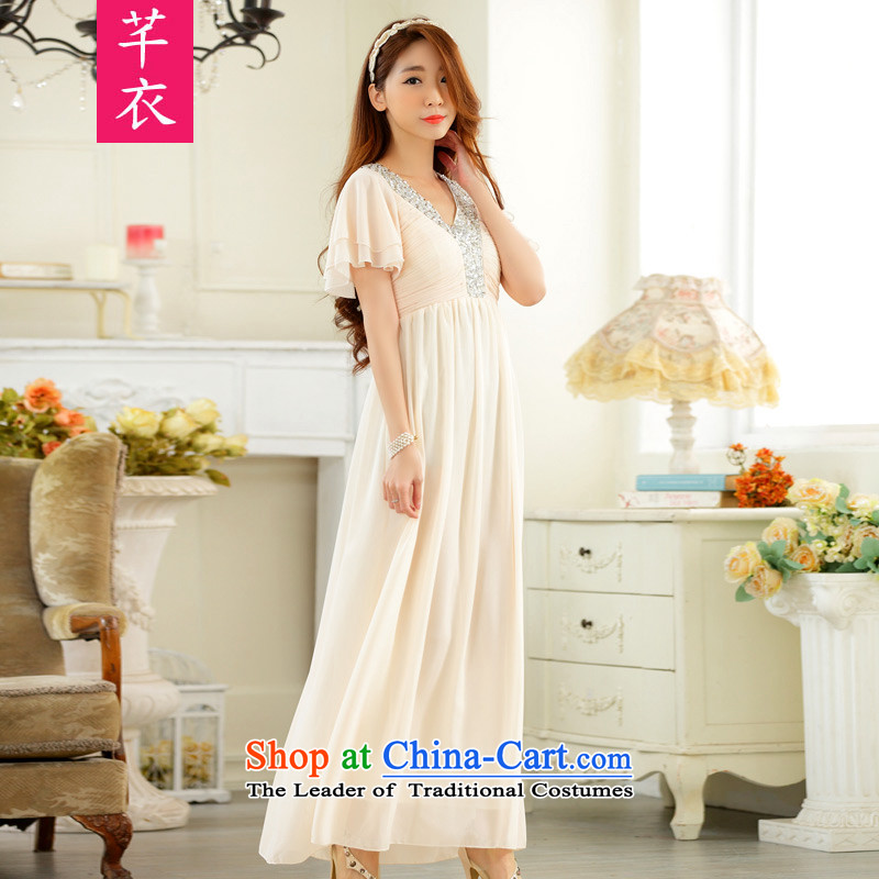 The 2015 annual meeting of the new atmosphere on-chip horn cuff V-Neck xl women small evening dresses thick sister Europe focus chiffon long skirt the skirt of champagne are code