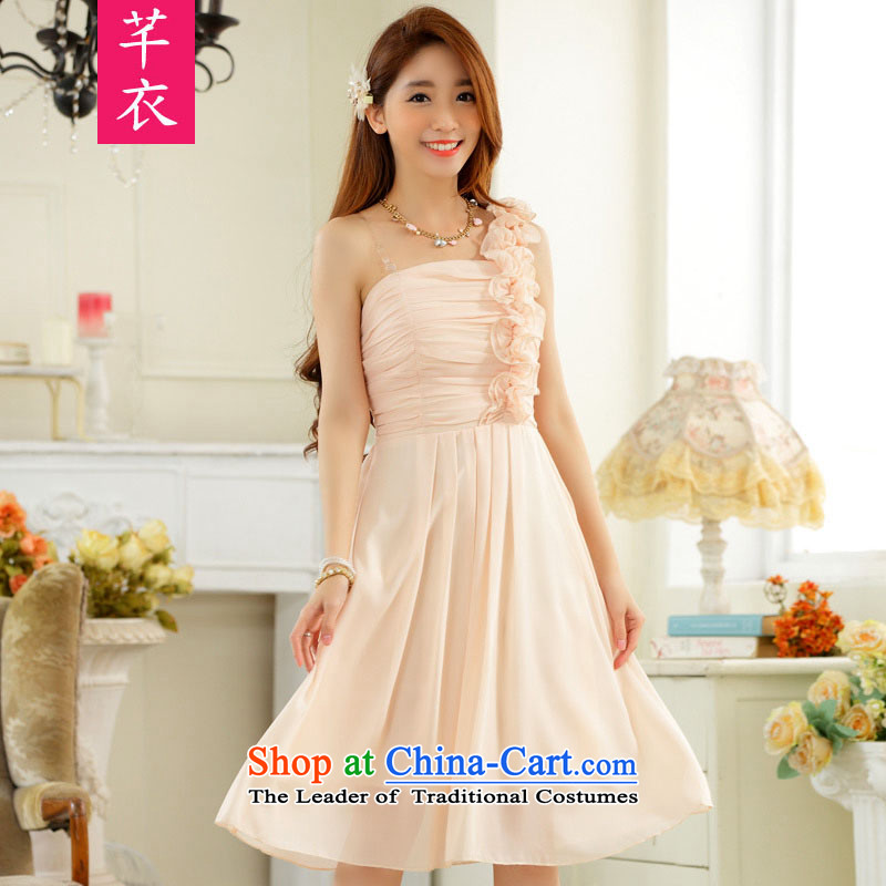 The new 201 stylish wedding bridesmaid sister skirt fungus single shoulder foutune chiffon xl skirt in evening dress thick mm banquet suction dotting the skirt of champagne to large 2XL 140-160 characters catty